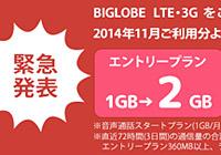 BIGLOBE LTE・3Gがかなりの価格破壊です。。。月5GBで1,505円(税別)!