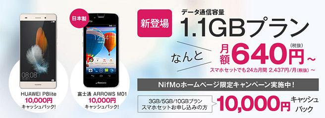 NifMo 10,000円キャッシュバックキャンペーン