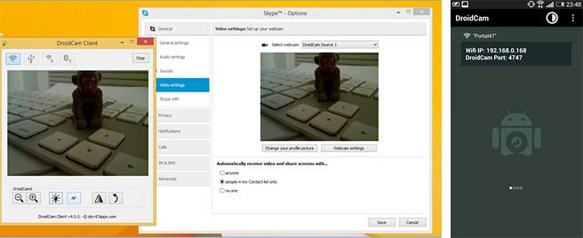 スマホを気軽にパソコンのWEBカメラに出来る「DroidCam」