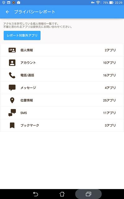 人情報にアクセスしているアプリが表示