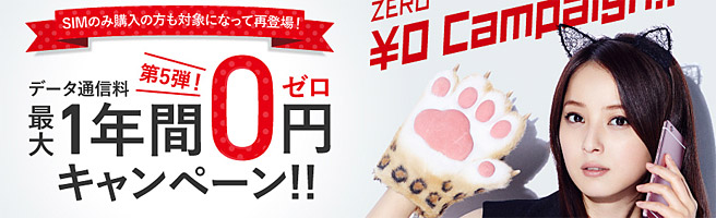 FREETEL データ通信量最大1年間0円キャンペーン