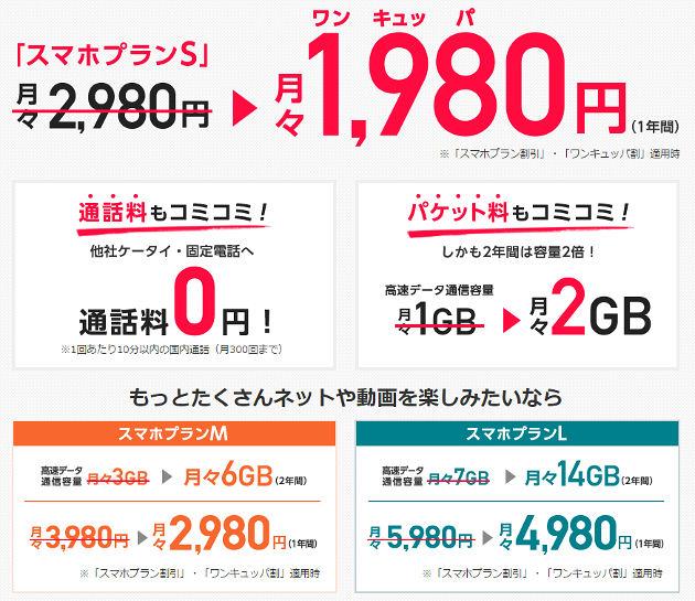 1年間1,000円割引で月額1,980円