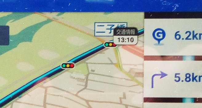右上にはVICSの交通情報の最終取得時間が表示