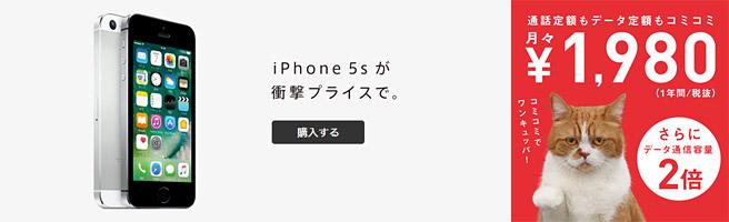 10分以内の通話は無料・月1GBで月額2,980円