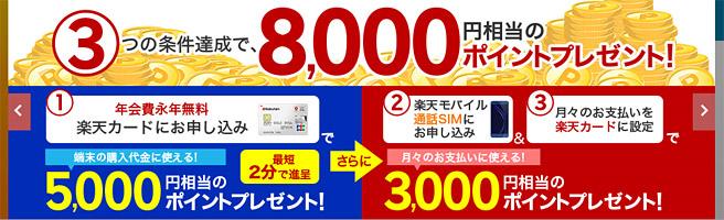 楽天カードの新規入会で8,000円分のキャッシュバック
