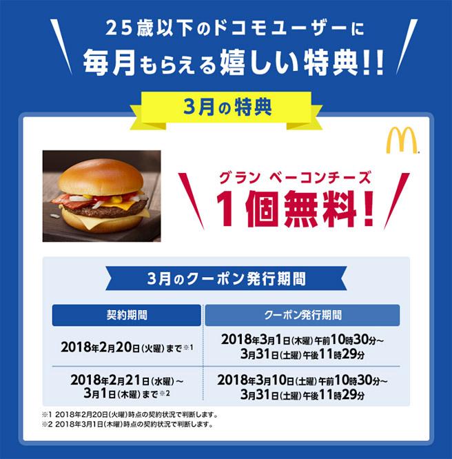 3月の特典は、マクドナルドの「グラン ベーコンチーズ(390円相当)」が1個無料