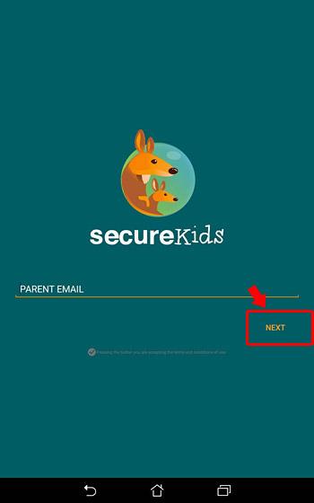 「SecureKids」にアカウント登録するための親のメールアドレスを入力