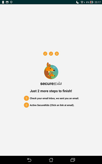 「SecureKids」の設定および登録はほぼ完了