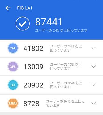 AnTuTu Benchmarkのバージョンは7で計測したところ、AnTuTuスコアは87441でした