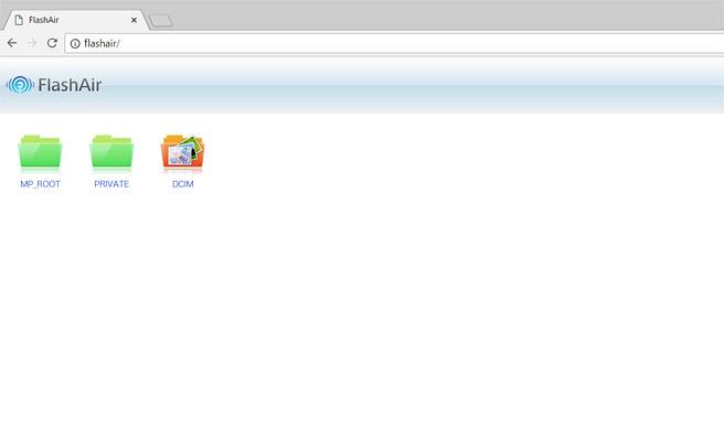FlashAirに接続されたら、インターネットを閲覧するソフトを起動します。例えばInternetExplorerやGoogle Chrome、Microsoft Edgeなどになります。すると自動的に「http://flashair/」が開き、FlashAirの中身のフォルダが表示