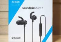 「Anker SoundBuds Slim+」には、イヤホン本体の他、本体のケース、充電用のmicroUSBケーブル、サイズ違いのイヤーチップとイヤーフック、説明書が入っています。