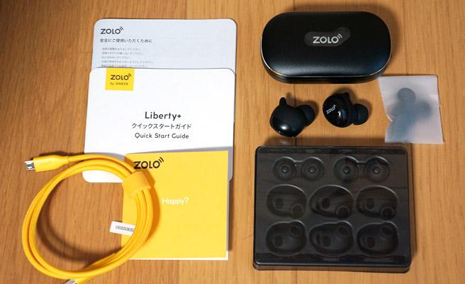 「Anker Zolo Liberty+」の同梱品は、イヤホン本体の他、本体の充電ケース、充電用のmicroUSBケーブル、サイズ違いのイヤーチップとGripFitジャケット、クリップ、説明書が入っています。