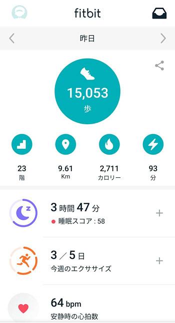 そして、「Fitbit Versa 2」で歩数や距離、カロリーや運動時間、睡眠データや脈拍などが計測され、詳細なデータはスマホの「Fitbit アプリ」で確認します。
