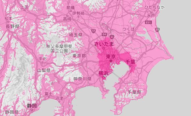 楽天回線エリアは濃いピンクで表示されているのですが、この地図ではほとんど分かりませんね(^^;