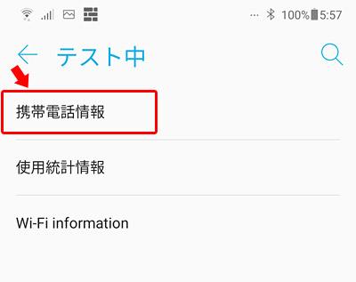 「テスト中」という画面が表示されますので「携帯電話情報」をタップします。