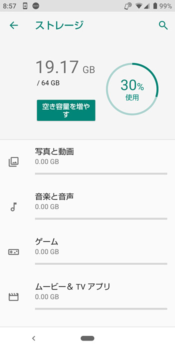 「AQUOS sense3 lite」の起動直後のストレージの使用容量は19,17GBになります。合計で64GBなので、44.83GBが空いていることになります。