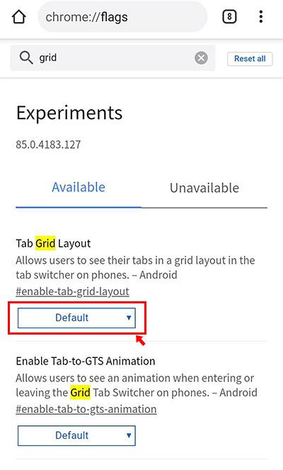 項目が絞り込まれて「Tab Grid Layout」の項目が表示されているかと思います。「Default」と書かれているボタンをタップします。