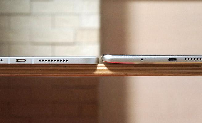 本体の厚みは、この通りMedia Pad M3(7.3 mm)よりも、iPad mini 6(6.3 mm)の方が薄くなっています。